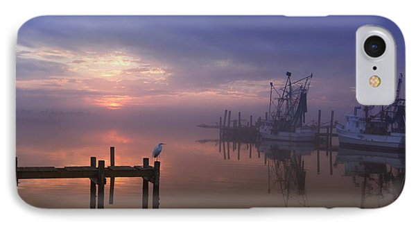 Foggy Sunset Over Swansboro IPhone 7 Case by Benanne Stiens