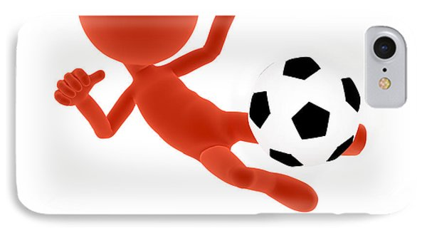 Football Soccer Shooting Jumping Pose IPhone Case by Michal Bednarek