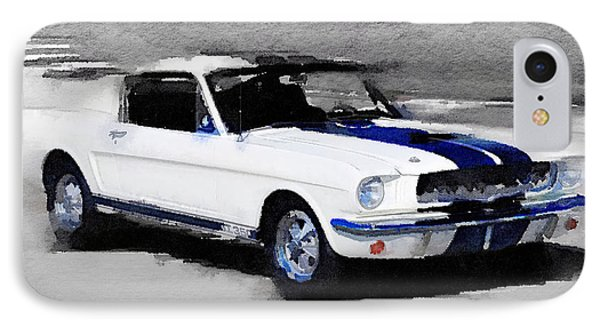 Ford Mustang Shelby Watercolor IPhone Case by Naxart Studio