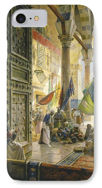 Forecourt Of The Ummayad Mosque, Damascus, 1890 Oil On Panel IPhone Case by Gustave Bauernfeind
