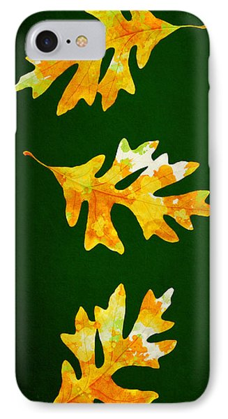 Forest Green Autumn Oak Leaf Painting IPhone Case by Christina Rollo