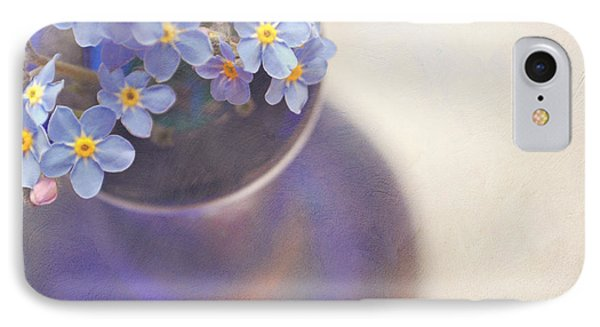 Forget Me Nots In Blue Vase Phone Case by Lyn Randle