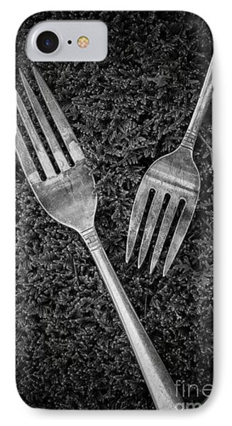 Fork Still Life Black And White IPhone Case by Edward Fielding