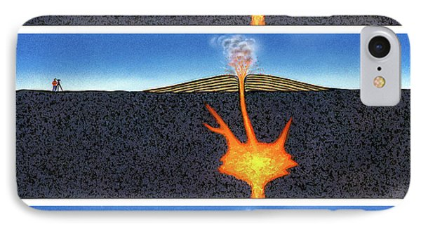 Formation Of A Volcano IPhone Case by David A. Hardy