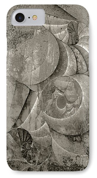 Fossilized Shell - B And W Phone Case by Klara Acel