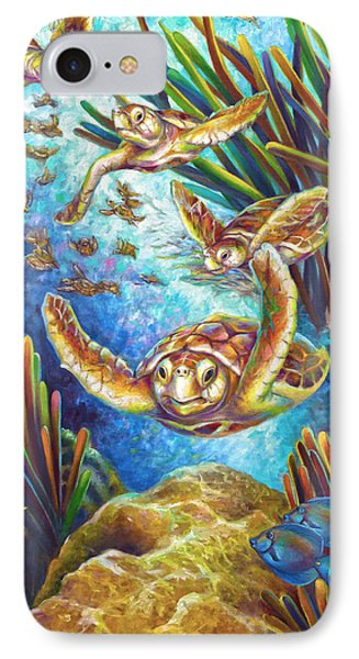 Four Loggerhead Turtles IPhone Case by Nancy Tilles