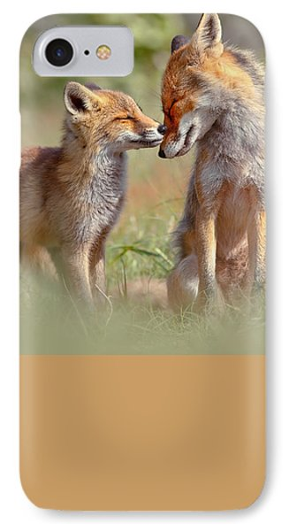 Fox Felicity - Mother And Fox Kit Showing Love And Affection IPhone Case by Roeselien Raimond