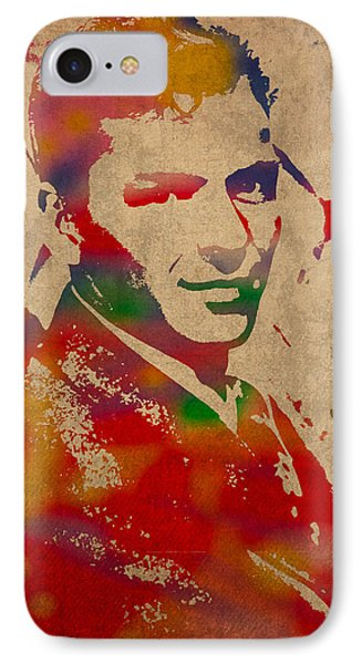 Frank Sinatra Watercolor Portrait On Worn Distressed Canvas IPhone 7 Case by Design Turnpike