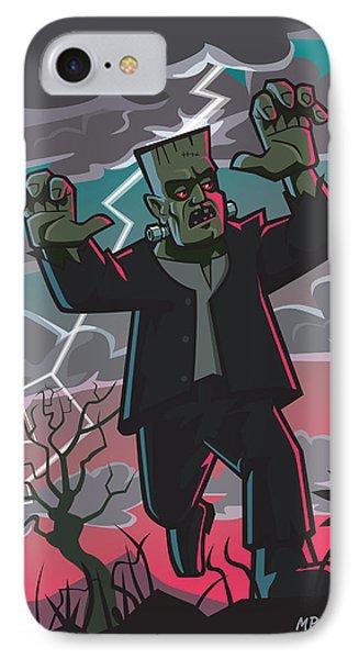 Frankenstein Creature In Storm  Phone Case by Martin Davey