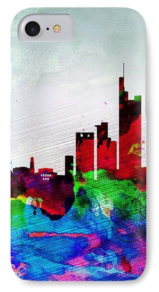 Frankfurt Watercolor Skyline IPhone Case by Naxart Studio