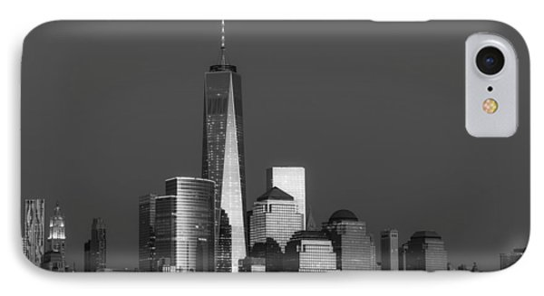 Freedom Tower Glow Bw IPhone Case by Susan Candelario