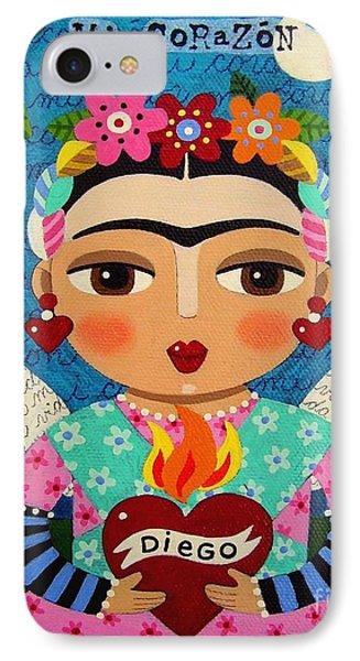 Frida Kahlo Angel And Flaming Heart Phone Case by LuLu Mypinkturtle