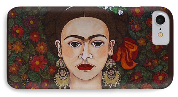 Frida Kahlo With Butterflies IPhone Case by Madalena Lobao-Tello