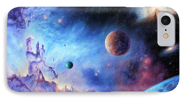 Frontiers Of The Cosmos IPhone Case by Lucy West