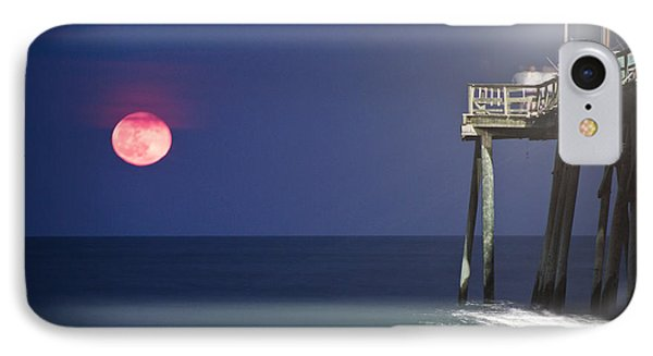 Full Moon At Carolina Beach Pier Phone Case by Phil Mancuso
