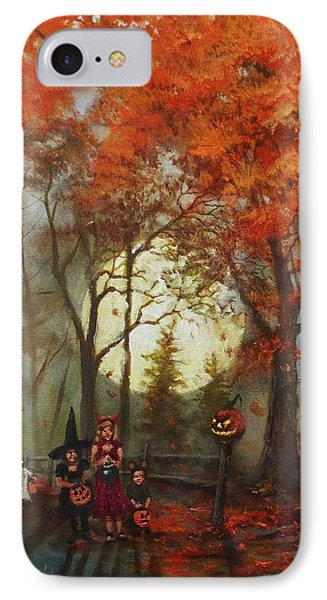 Full Moon On Halloween Lane IPhone Case by Tom Shropshire