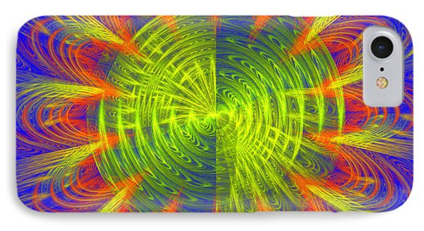 Futuristic Disc Blue Red And Yellow Fractal Flame Phone Case by Keith Webber Jr