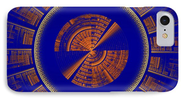 Futuristic Tech Disc Blue And Orange Fractal Flame IPhone Case by Keith Webber Jr
