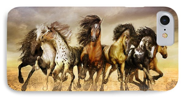 Galloping Horses Full Color IPhone Case by Shanina Conway