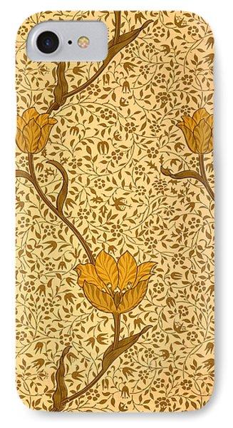 Garden Tulip Wallpaper Design Phone Case by William Morris