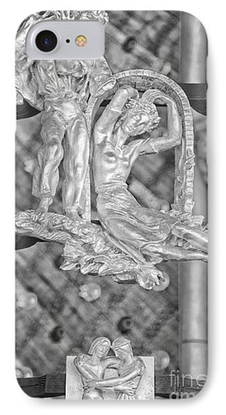 Gemini Zodiac Sign - St Vitus Cathedral - Prague - Black And White IPhone Case by Ian Monk