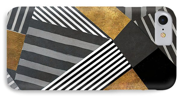 Geo Stripes In Gold And Black II IPhone 7 Case by Lanie Loreth