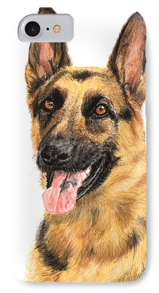 German Shepherd Painting Portrait  Phone Case by Kate Sumners