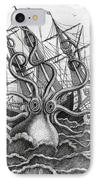Giant Octopus Illustration From L Histoire Naturelle Generale Et Particuliere Des Mollusques IPhone Case by French School