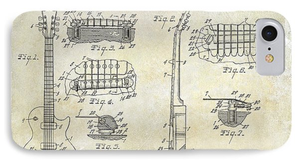 Gibson Les Paul Patent Drawing IPhone 7 Case by Jon Neidert