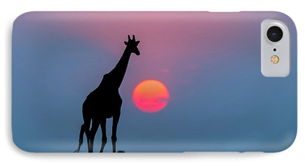 Giraffe At Sunset Chobe Np Botswana IPhone Case by Andrew Schoeman