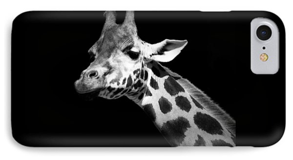 Portrait Of Giraffe In Black And White IPhone 7 Case by Lukas Holas