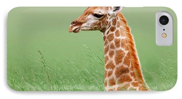 Giraffe Lying In Grass IPhone 7 Case by Johan Swanepoel