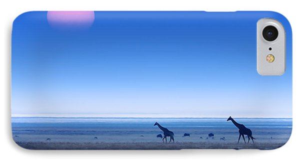 Giraffes On Salt Pans Of Etosha IPhone 7 Case by Johan Swanepoel