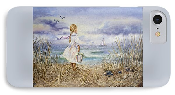 Girl At The Ocean IPhone Case by Irina Sztukowski