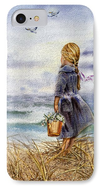 Girl And The Ocean IPhone Case by Irina Sztukowski