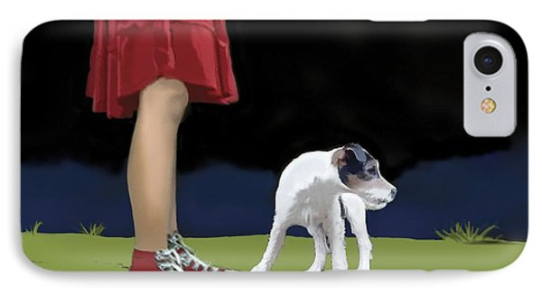 Girl In Red Skirt IPhone Case by Marjorie Weiss