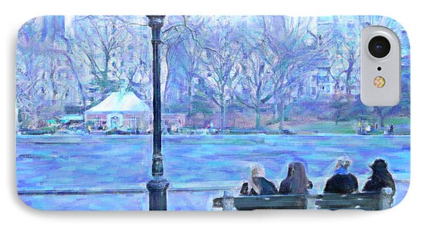 Girls At Pond In Central Park IPhone Case by Maggie Vlazny