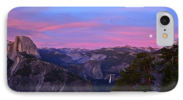 Glacier Point With Sunset And Moonrise Phone Case by Cassie Marie Photography