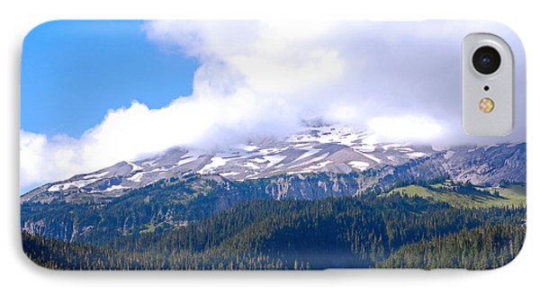 Glaciers In The Clouds. Mt. Rainier National Park Phone Case by Connie Fox