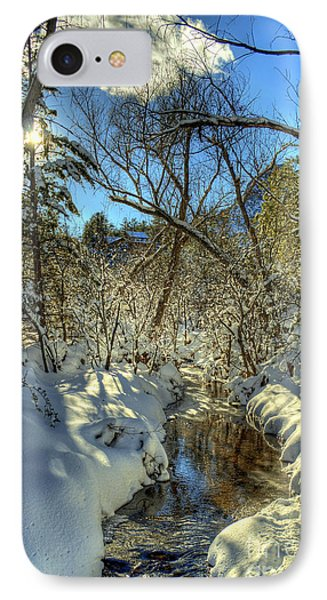 Gleaming Sun On Snowy Streambed IPhone Case by K D Graves