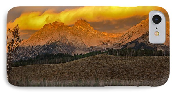 Glowing Sawtooth Mountains Phone Case by Robert Bales