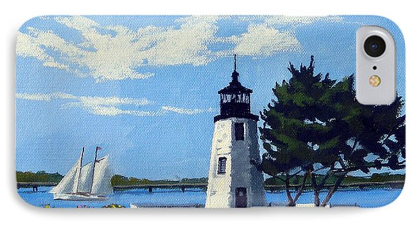 Goat Island Lighthouse Newport Rhode Island IPhone Case by Christine Hopkins