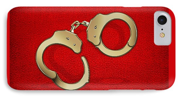 Gold Handcuffs On Red Leather Background IPhone Case by Serge Averbukh