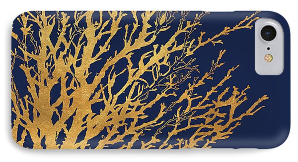Gold Medley On Navy IPhone Case by Lanie Loreth