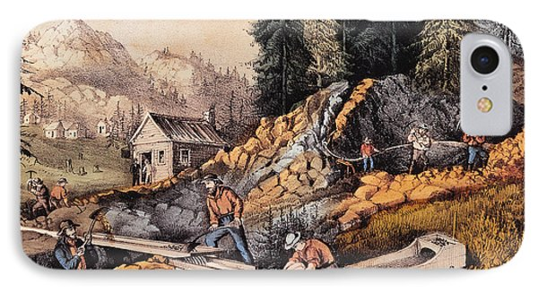 Gold Mining In California IPhone Case by Currier and Ives