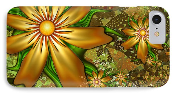 Golden Flowers Phone Case by Peggi Wolfe