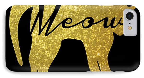 Golden Glitter Cat - Meow IPhone 7 Case by Pati Photography