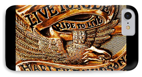 Golden Harley Davidson Logo Phone Case by Chris Berry