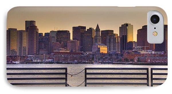 Golden Sunset Over Boston Phone Case by Joann Vitali