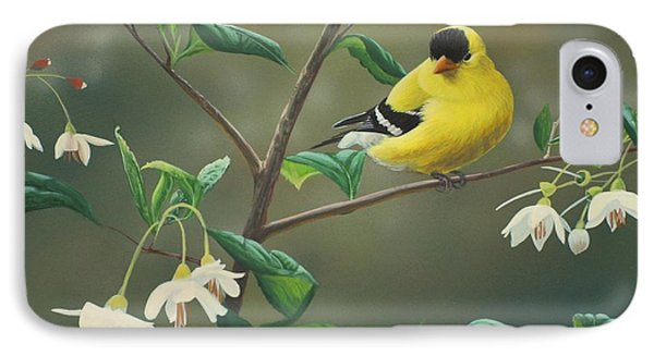 Goldfinch And Snowbells Phone Case by Peter Mathios